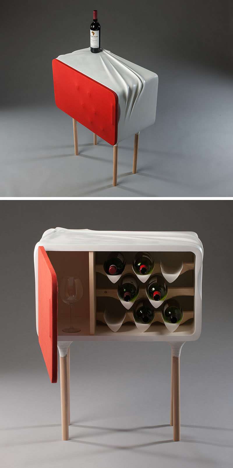 Berlin-based designer Santiago Rubio has created a modern and mini wine cabinet that can hold 8 bottles of wine and 6 glasses. #WineStorage #WineCabinet #Wine #Design #Furniture