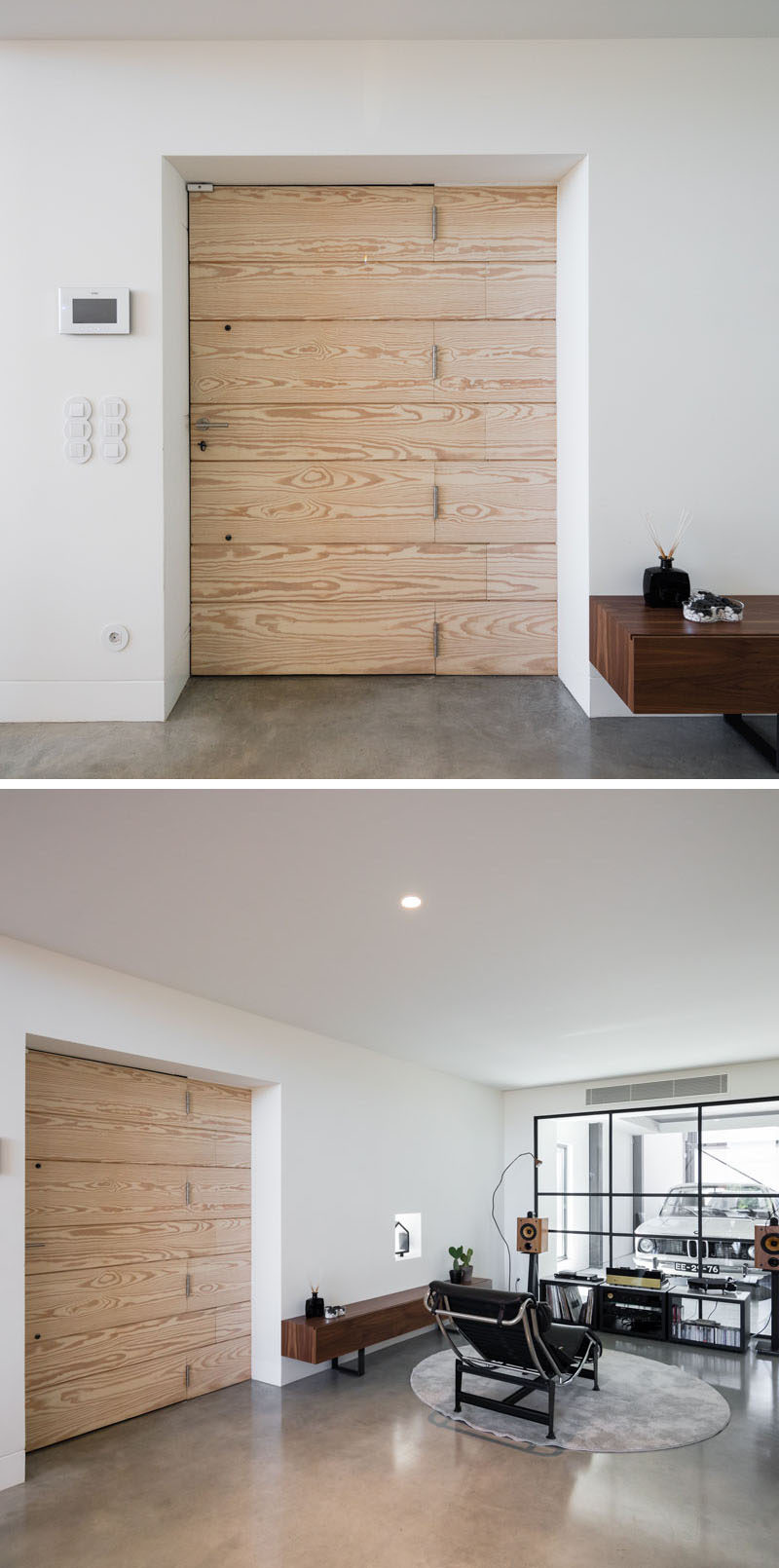This modern wood front door is tucked into a slight alcove, and beside the front door is a music room. #WoodFrontDoor #FrontDoor #WoodDoor