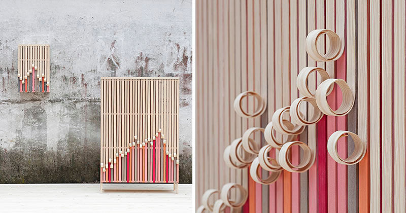 The 'Whittle Away' Cabinet Collection Has Curls Of Wood That Reveal A Colorful Facade Underneath