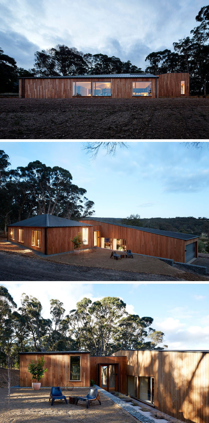 Moloney Architects have recently completed a new modern wood home in Invermay, Australia, that's named the 'Two Halves House', as the house is split with the social areas in one half and the sleeping areas in the other. #ModernHouse #ModernArchitecture