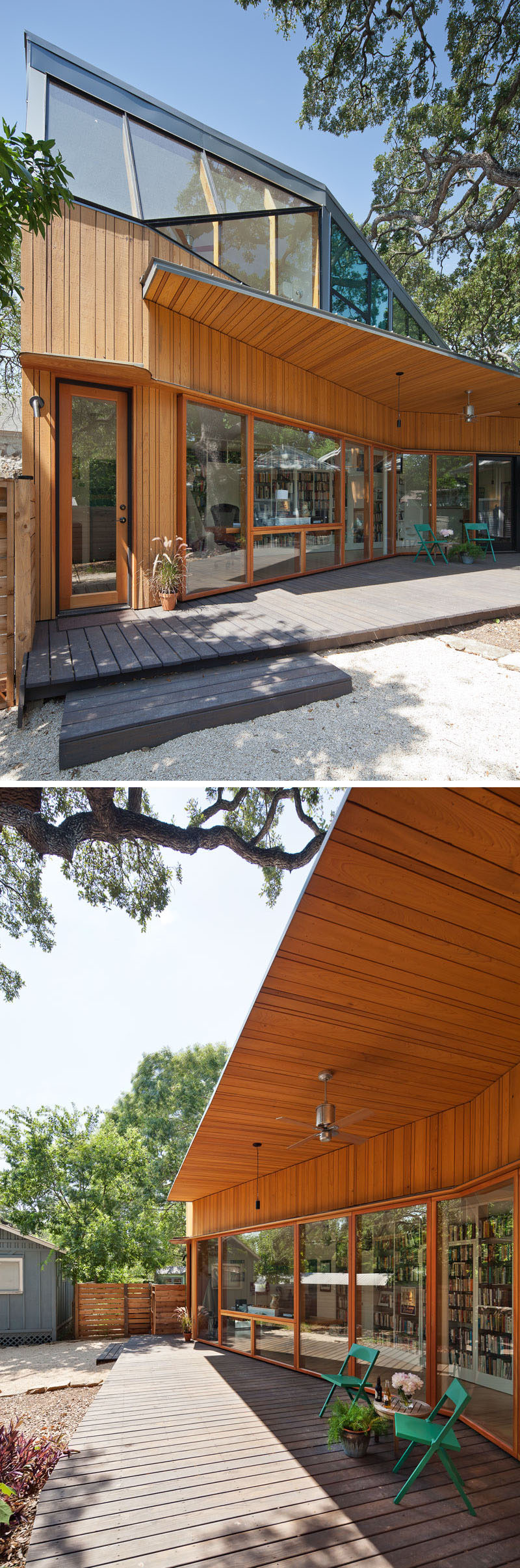 This modern addition has a partially covered deck that runs the length of the addition. The shape of the addition creates a large outdoor space under the tree while also preserving the tree's critical root zone. #ModernAddition #Deck #OutdoorSpace #Backyard