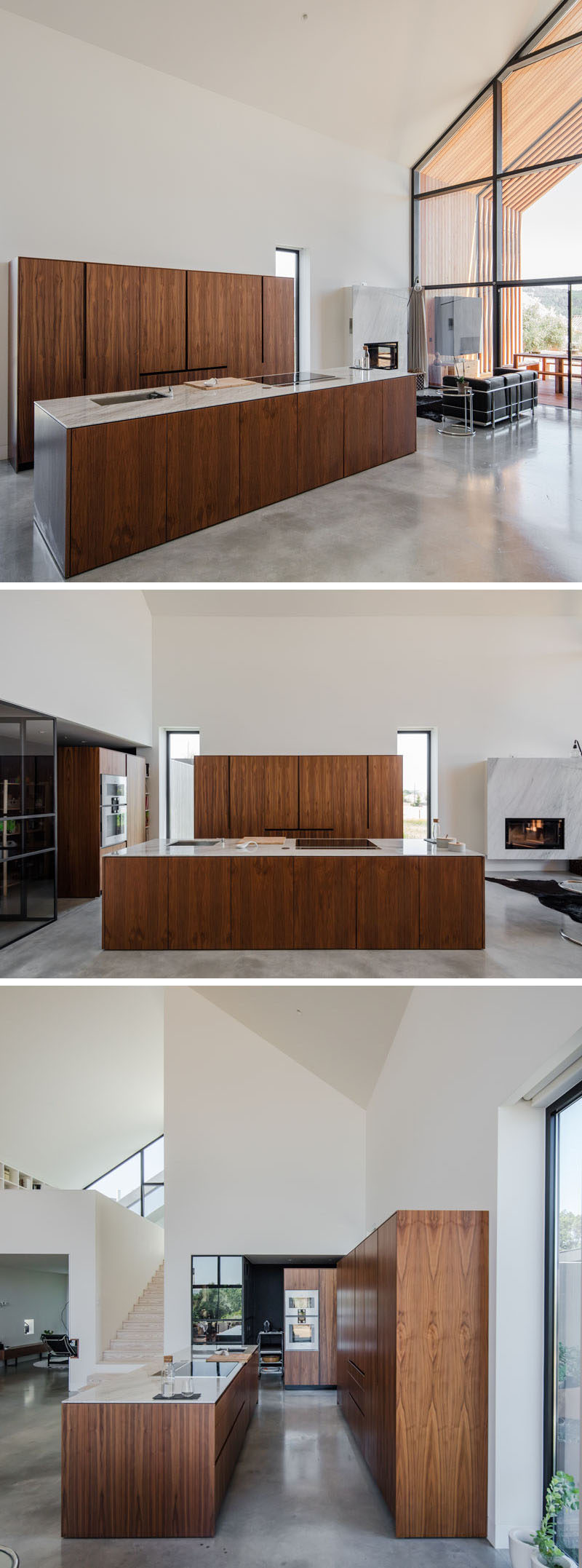 This modern kitchen has wood cabinets with light countertops add a natural element to the mostly white interior. #ModernWoodKitchen #ModernKitchen #KitchenDesign #WoodCabinets