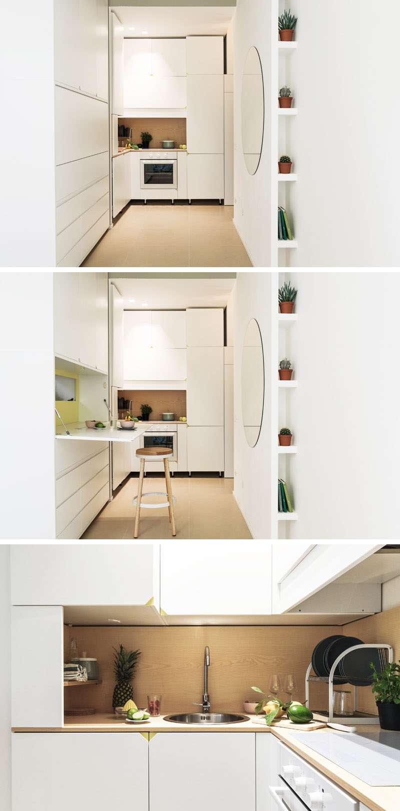 This small apartment kitchen has a row of cabinets with a fold down counter height table that can be used for additional counter space. #SmallKitchen #KitchenDesign
