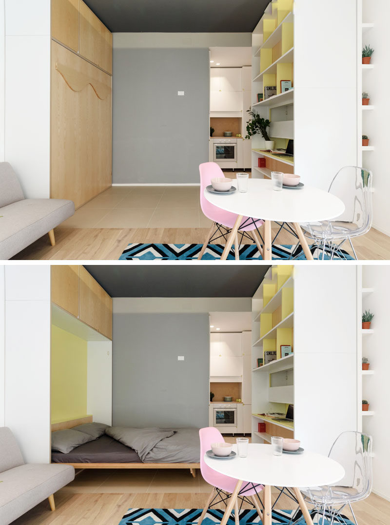 Architecture firm PLANAIR, have designed a small 317 square foot (29.5 sqm) micro apartment in Milan, Italy, that features a movable wall with a variety of functions. #SmallApartment #ApartmentDesign #InteriorDesign #FoldDownBed