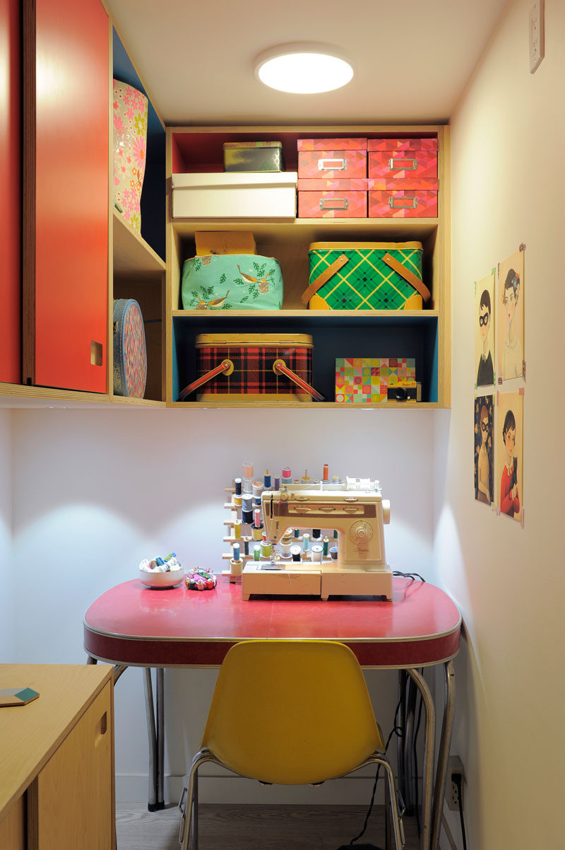 This small storage space in an apartment was turned into a sewing and craft room. #Sewing #CraftRoom #InteriorDesign