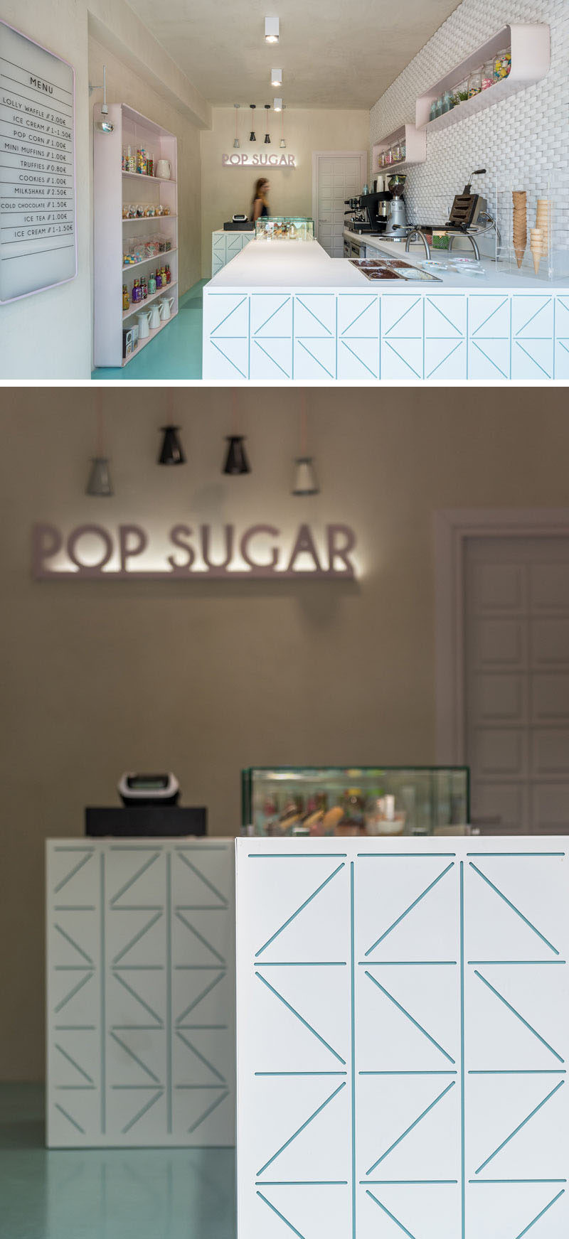 NORMLESS Architecture Studio have recently completed the design of Pop Sugar, a tiny sweet shop in the seaside village of Stavros in Greece. #SweetStore #InteriorDesign #RetailDesign