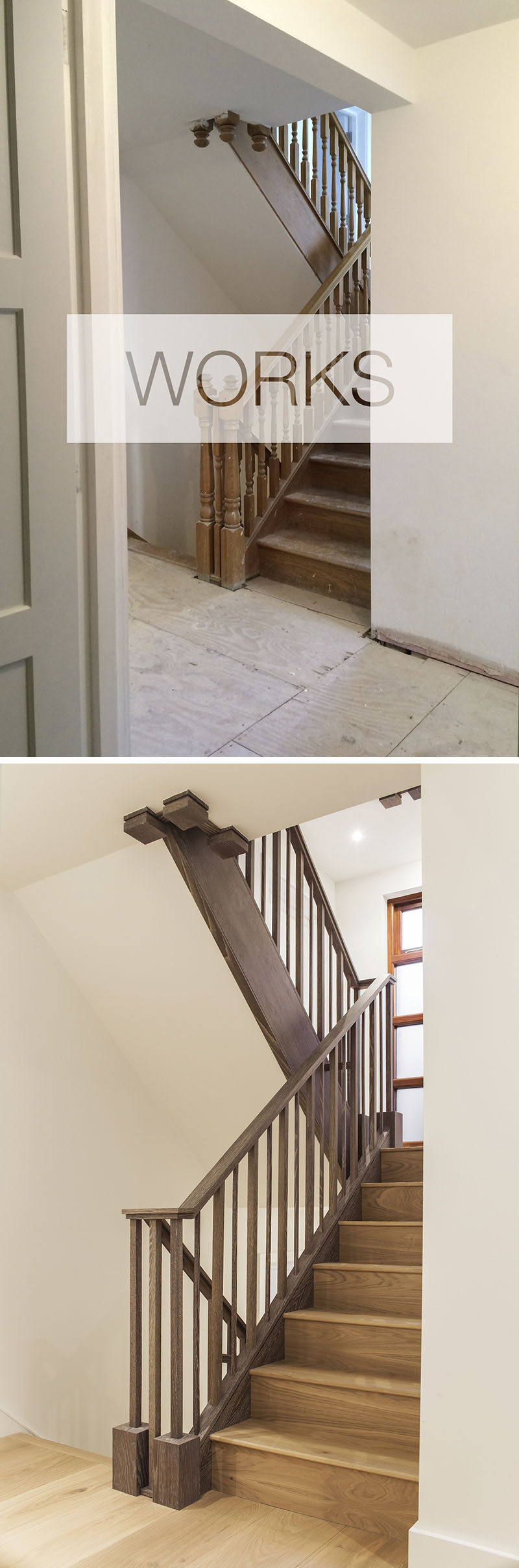 In this contemporary renovation project, the staircase was re-clad in a greyed oak and new spindles, banister rails and newel posts were added. #Stairs #StairDesign #StaircaseRenovation