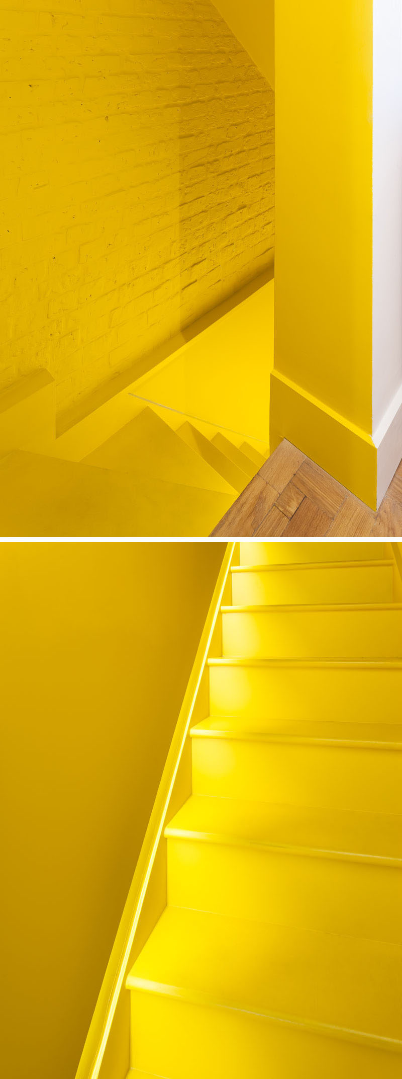 These modern bright yellow stairs have a simple strip of light that runs alongside them to make it easier to see when it's dark. #YellowStairs #Stairs #ModernStairs