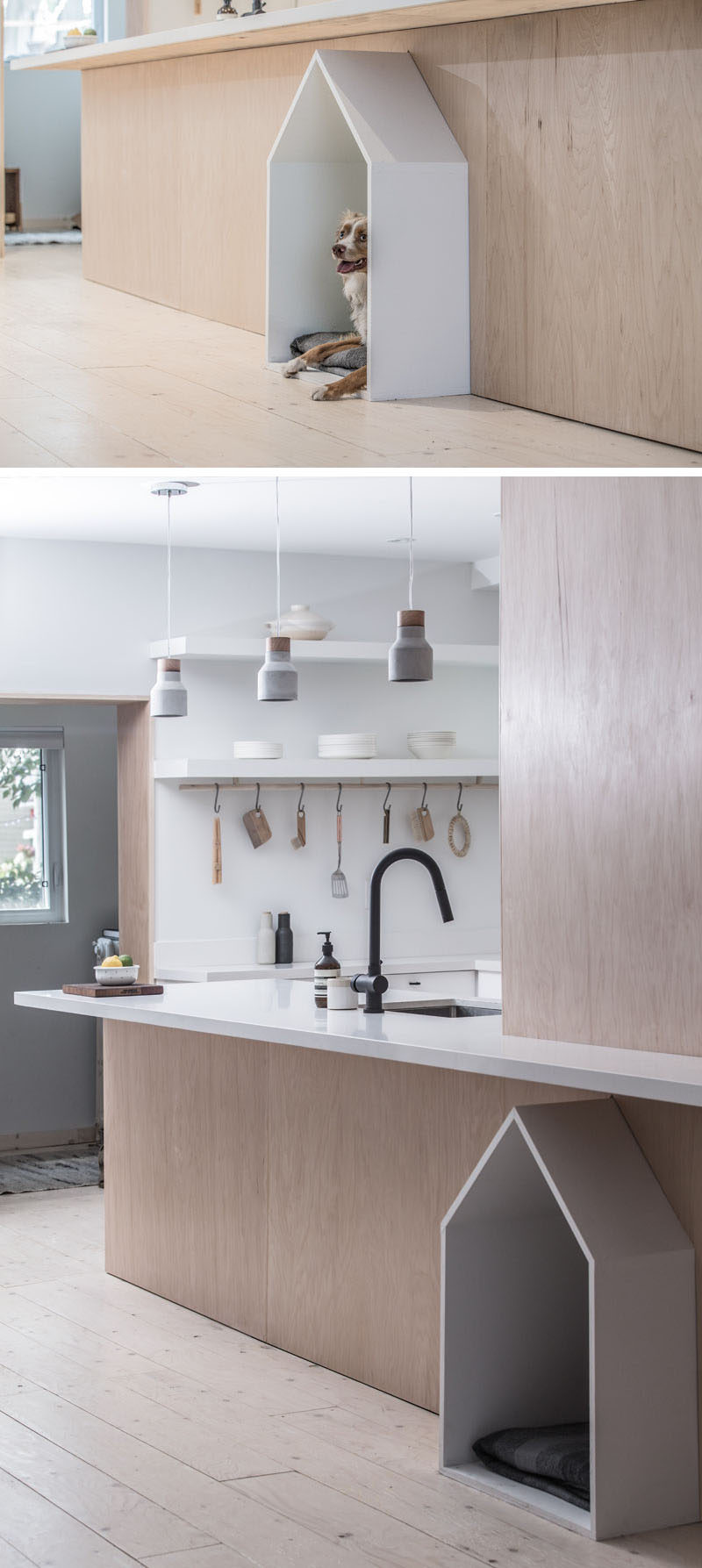 When Studio AC were designing the renovation of a house in Toronto, they made sure to include a design element for the family pup, that consists of a little white dog house built-into the surrounding plywood design element. #DogHouse #BuiltInDogHouse #DogBed #InteriorDesign