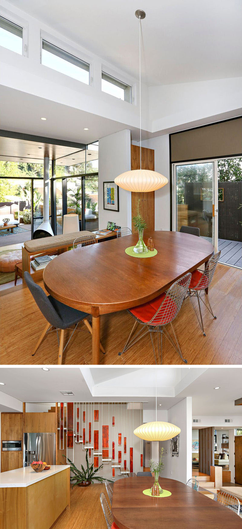 In this contemporary house, the dining room and kitchen sit slightly raised from the living room. Clerestory windows add additional sunlight to the space, while a single pendant light hangs from the ceiling. #DiningRoom #Windows