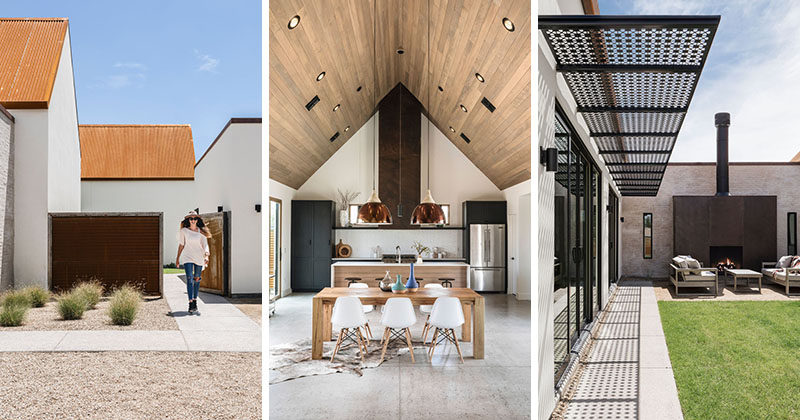 Architecture firm The Ranch Mine, have recently completed a new modern house that sits next to a canal in Phoenix, Arizona, that's been inspired by the forms of the missions in southern Arizona. #ModernArchitecture #CorrugatedRoof #ModernHouse