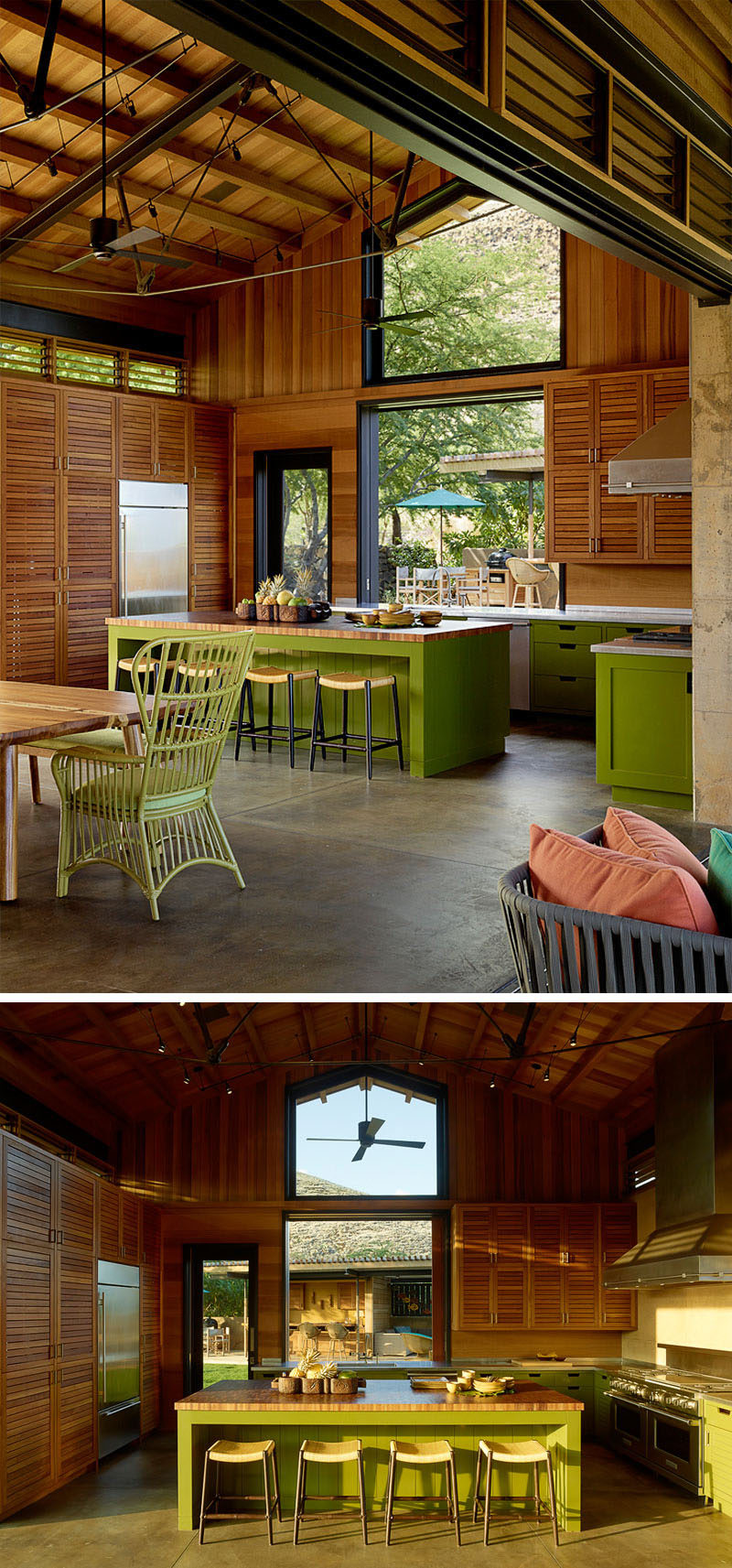 In this contemporary kitchen, green cabinets add a pop of color, while large windows provide ample natural light and let views of the other nearby gathering places be seen. #KitchenDesign #GreenKitchen #Wood