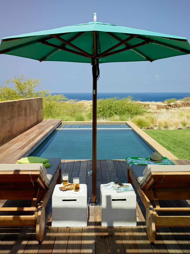 This small swimming pool has views of the ocean and a small deck for two. #SwimmingPool #Pool