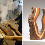 Molten Glass Is Hand Blown Into These Wood Pieces To Make Contemporary Sculptures