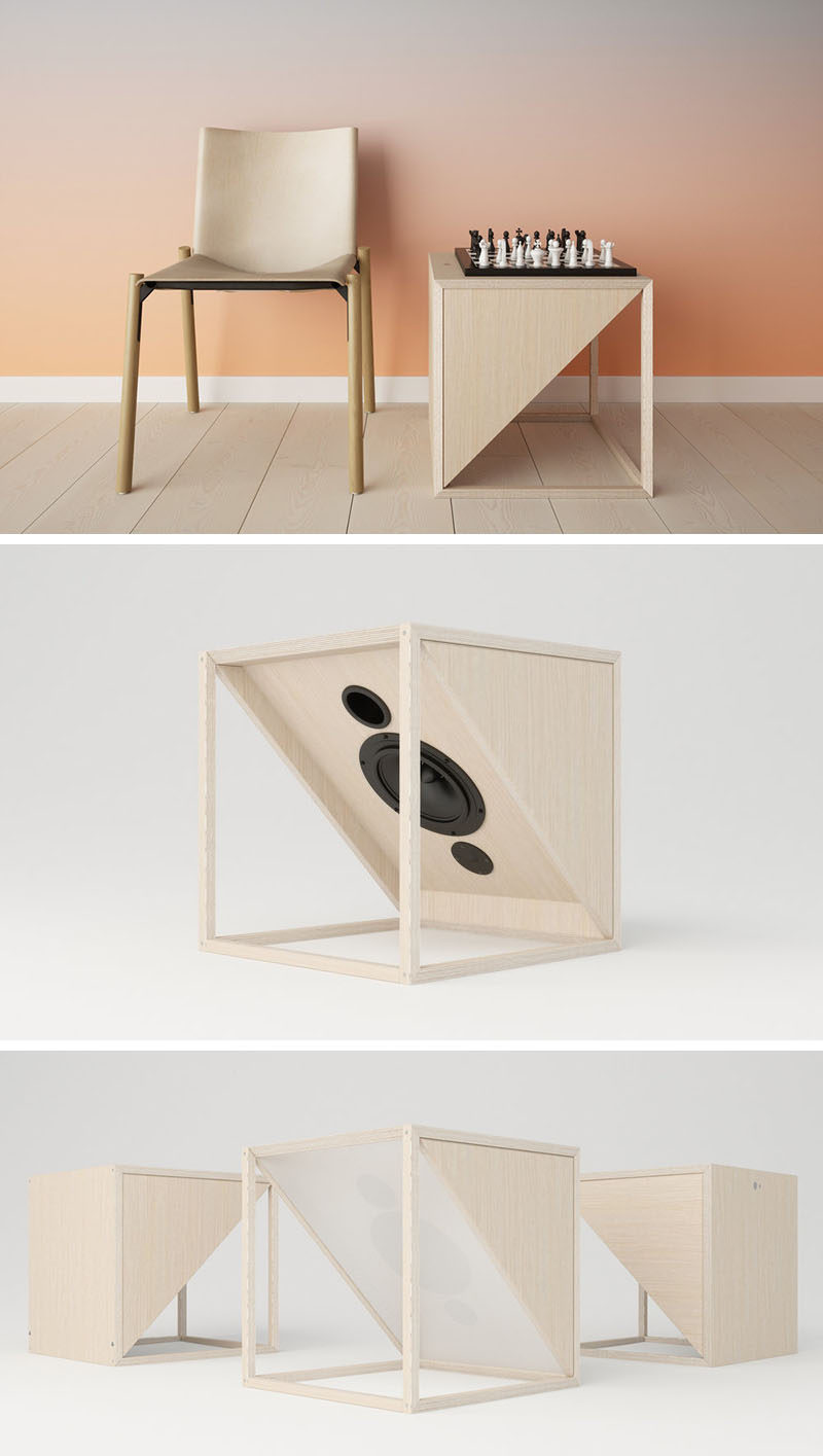 Design studio JLA, have created a minimalist side table that doesn't just create a place to place your book or table lamp, it's also your home or office sound system. #SideTable #WirelessSpeakers #FurnitureDesign