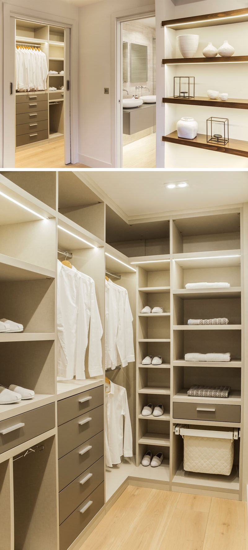 This modern walk-in closet features plenty of floor-to-ceiling storage and bright lighting. #WalkInCloset #Closet #InteriorDesign