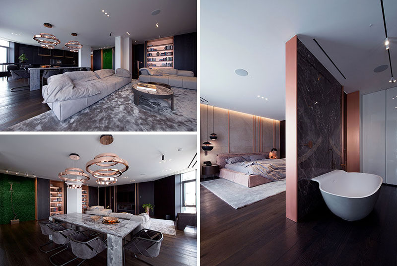 YoDezeen Architects have recently completed the interior design and renovation of an apartment in Kiev, Ukraine, that features copper design elements throughout. #ApartmentDesign #Copper #InteriorDesign