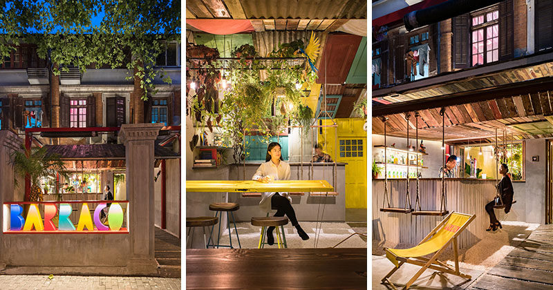 A Tropical Inspired Bar In China Uses Reclaimed Materials And Swings In Its Design