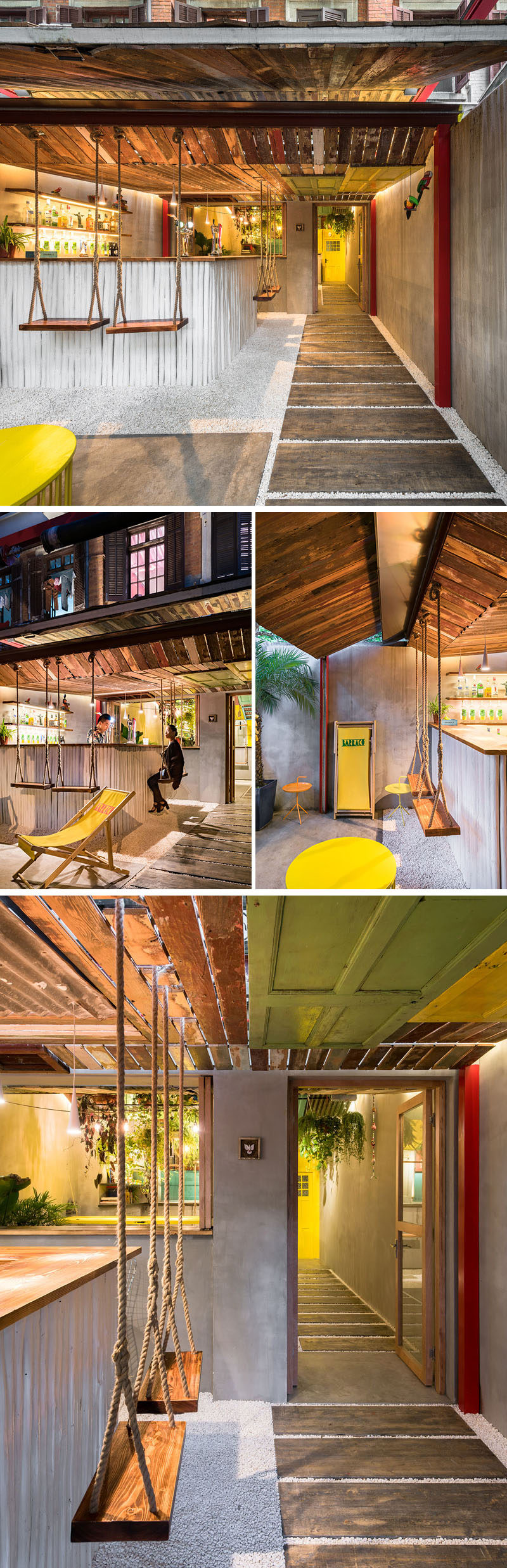 a tropical inspired bar in china uses reclaimed materials and swings