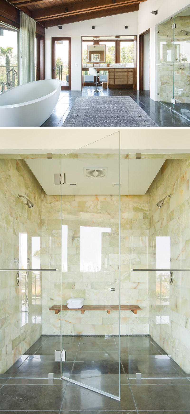 In this modern bathroom, there's a freestanding bathtub that sits in front of the windows, a make-up vanity and a large two-person walk-in shower with a wood bench. #TwoPersonShower #ModernBathroom