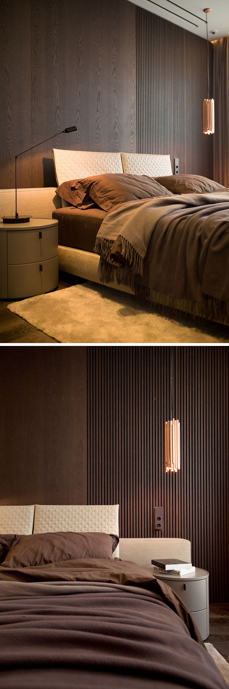 In this modern bedroom, dark wood has been used as an accent wall behind the bed, while a single copper light hangs beside the bed. #AccentWall #ModernBedroom