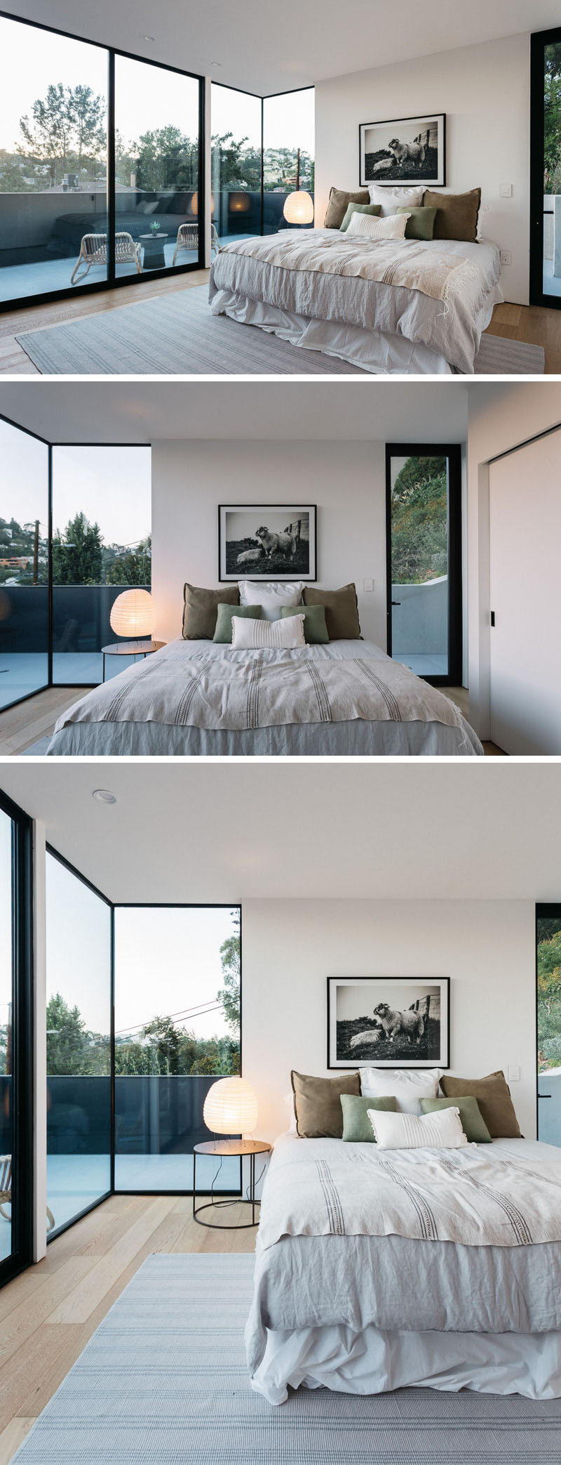 In this modern master bedroom there are floor-to-ceiling, black-framed windows that flood the room with light.  #ModernBedroom #Windows #MasterBedroom