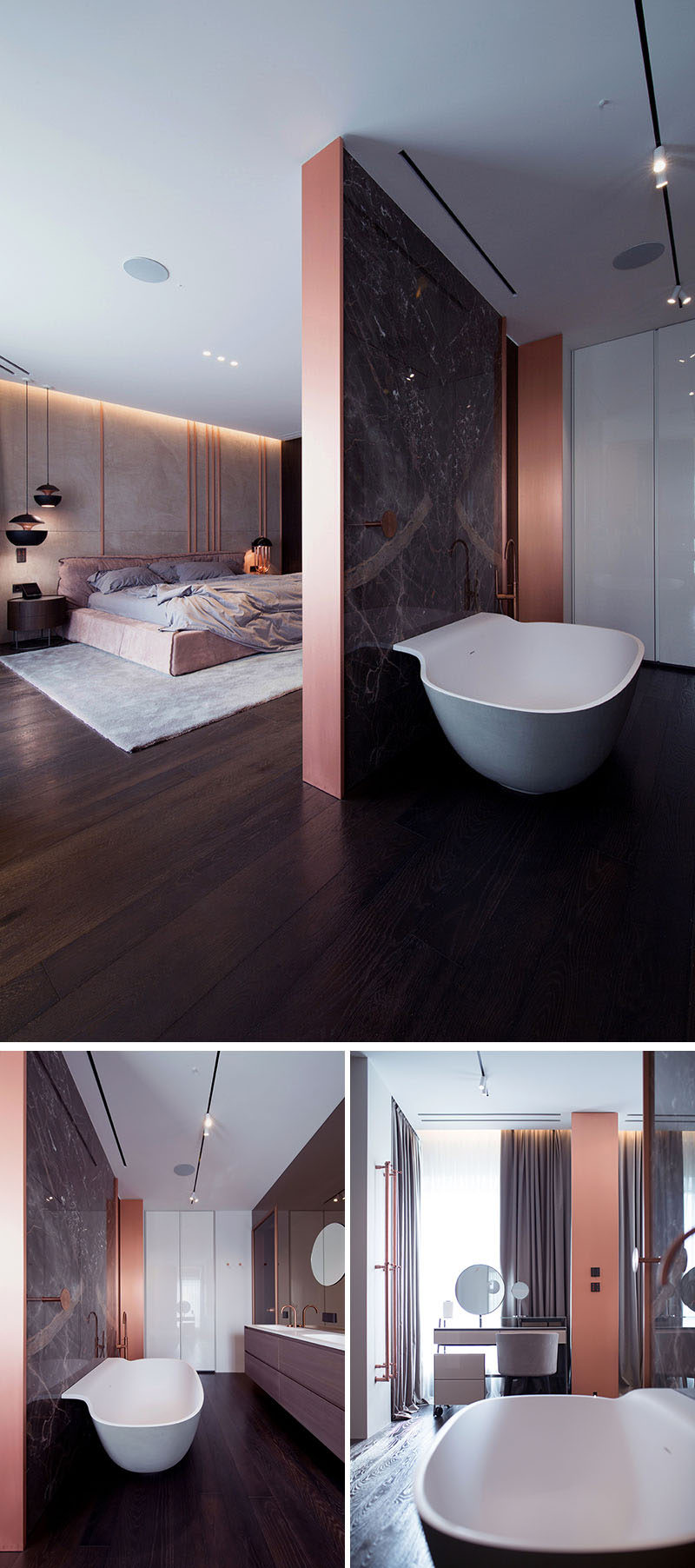 A partial wall with copper ends hides this modern bathroom from the bedroom, while keeping it open and spacious at the same time. #ModernBedroom #ModernBathroom