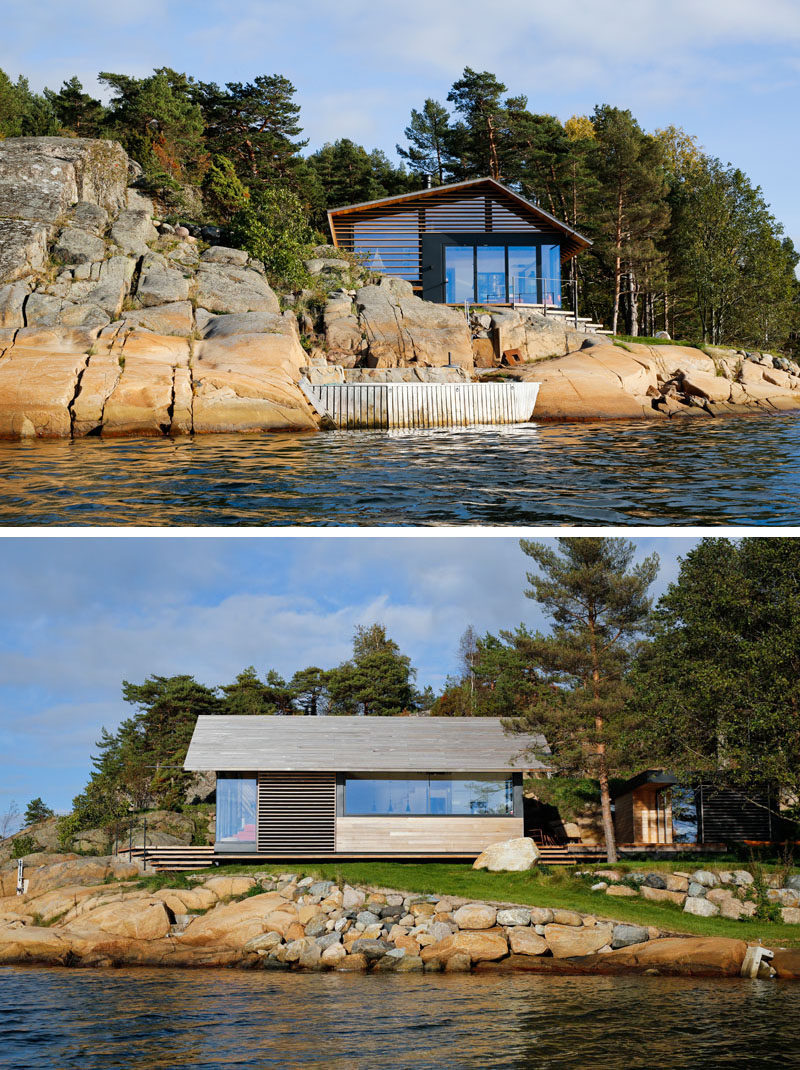 Lund+Slaatto Architects designed this modern cabin and a small annex that sits next to the water and on the edge of a rocky outcrop inØstfold, Norway. #ModernCabin #Architecture