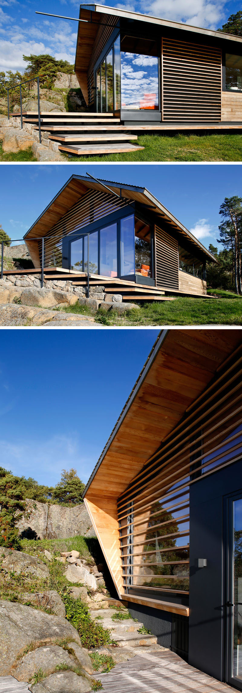 This modern cabin is clad with cedar timber, with some of the wood partially covering the windows, allowing sunlight to filter through to the interior.#ModernCabin #Architecture