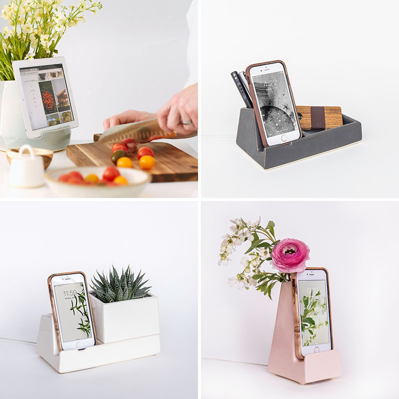STAK Ceramics have designed a collection of multi-purpose phone and tablet holders that have containers, planters or vases as part of their design. #PhoneHolder #TabletHolder #HomeDecor #Design #PhoneDock