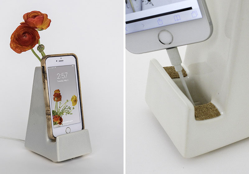 STAK Ceramics have designed a collection of multi-purpose phone and tablet holders that have containers, planters or vases as part of their design. #PhoneHolder #TabletHolder #HomeDecor #Design
