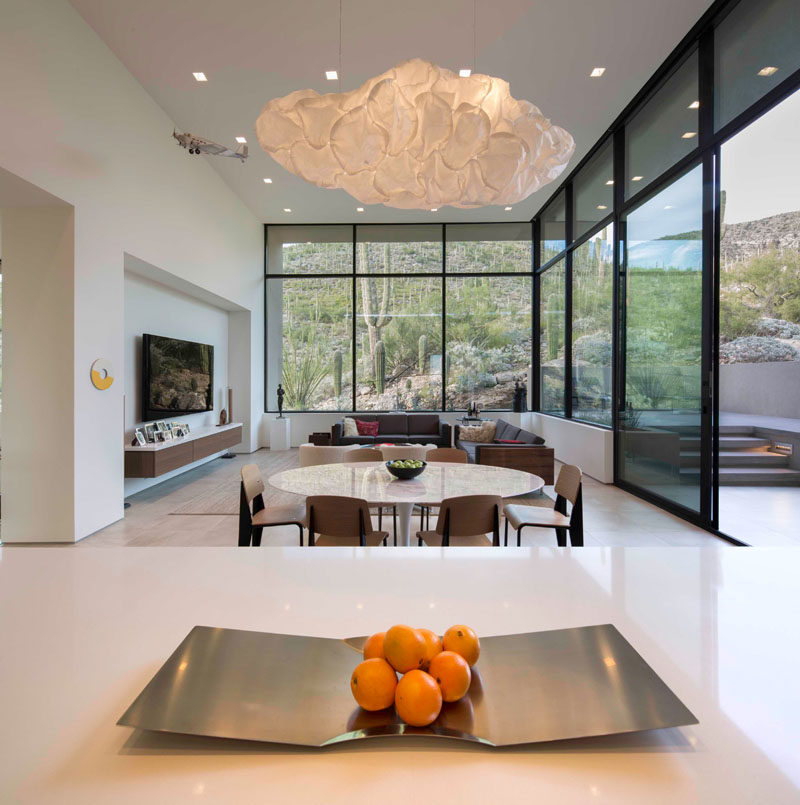This Modern House Has An Informal Dining Area And A Second Living Room.  Large Windows