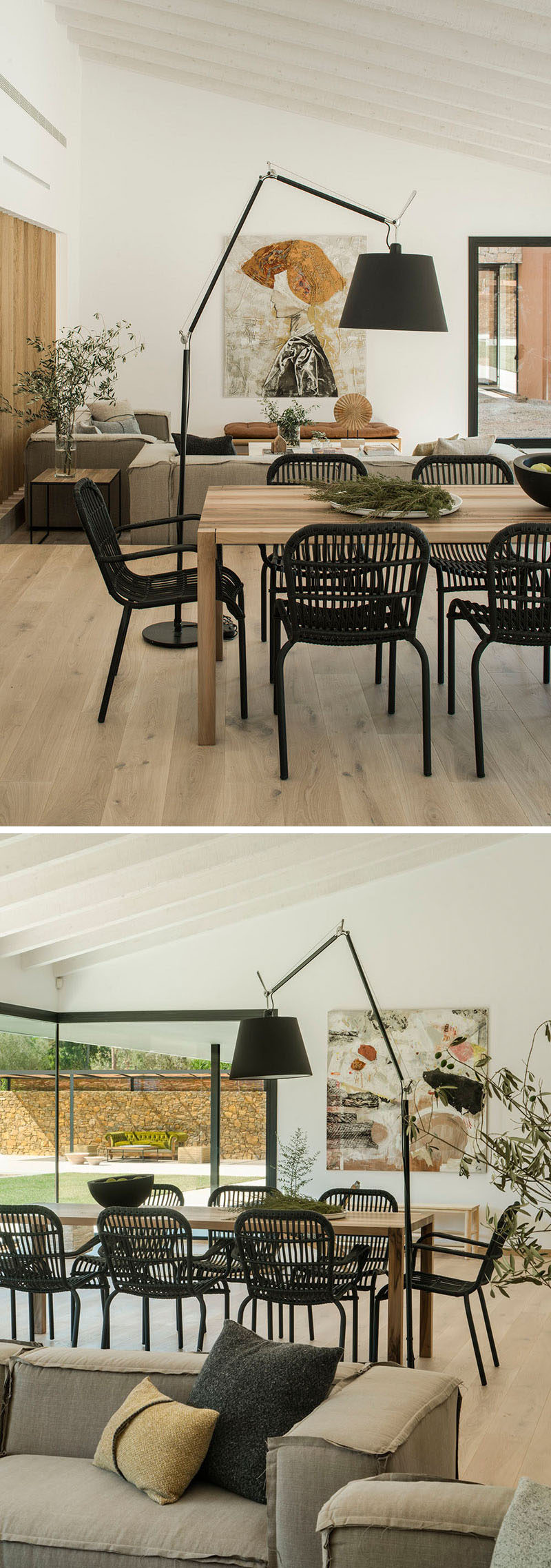 In this dining area, a wood dining table is surrounded by black dining chairs. #DiningTable #DiningChairs