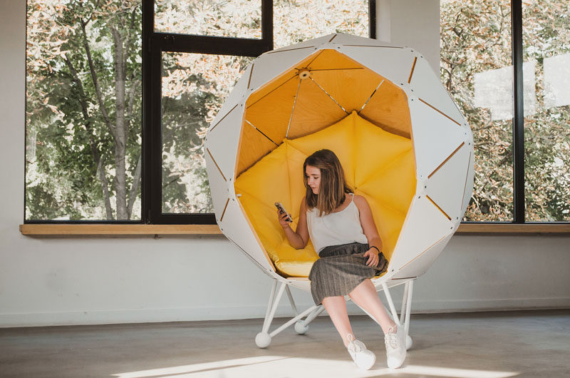 Ukrainian based MZPA design, have created The Planet, a private space that someone can curl up in and relax or do some work. #OfficeFurniture #FurnitureDesign #Seating