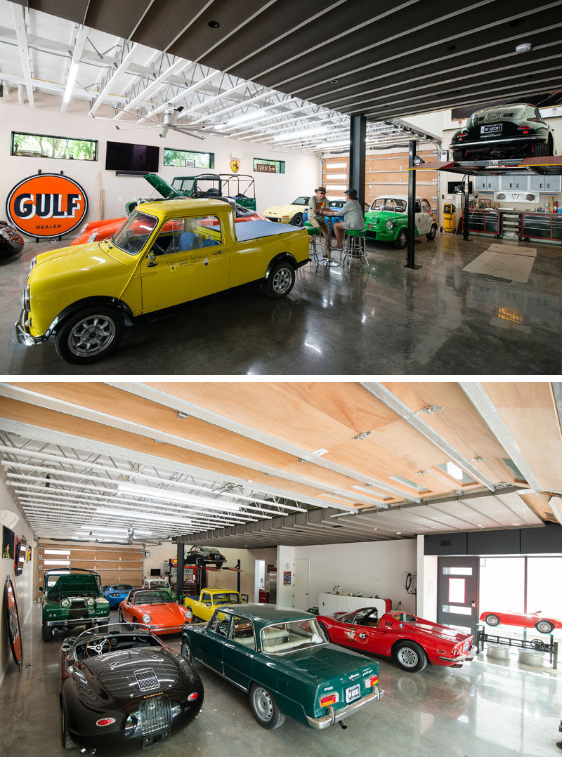 This house, named 'Autohaus', was designed for a car collectors and the garage, which makes up most of the ground level floor of the home is dedicated to this. There's a car lift and mechanical area, plenty of light and garage doors at each end. #CarGarage #Cars #Architcture #Garage