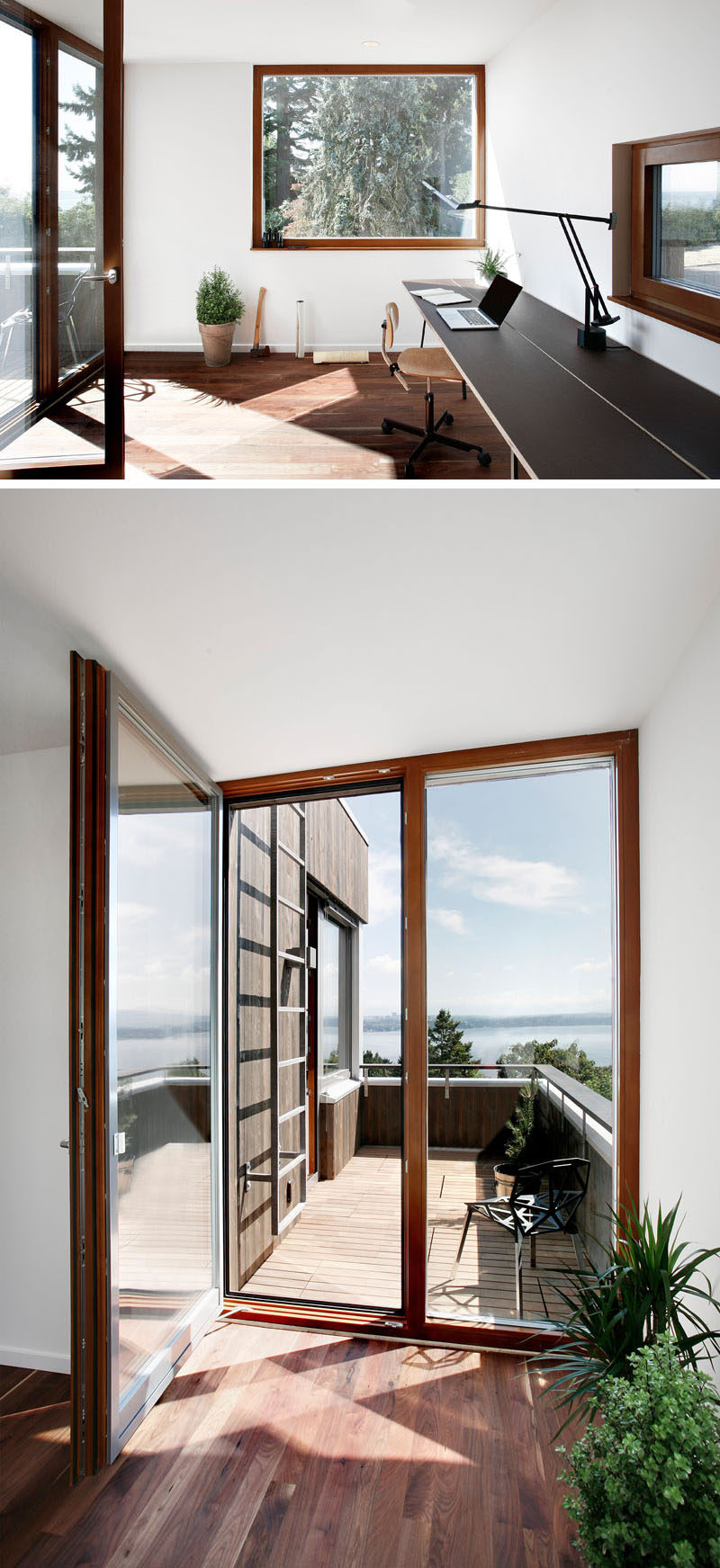 This modern and minimalist home office has a couple of windows with views of the trees and access to a small balcony. #HomeOffice #Balcony #Windows