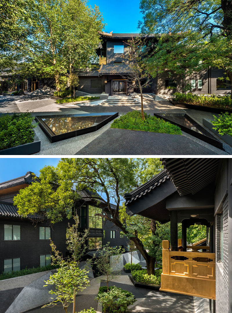 This modern Chinese hotel has a central garden area with angled water features and plenty of trees. #Garden #Landscaping #HotelDesign