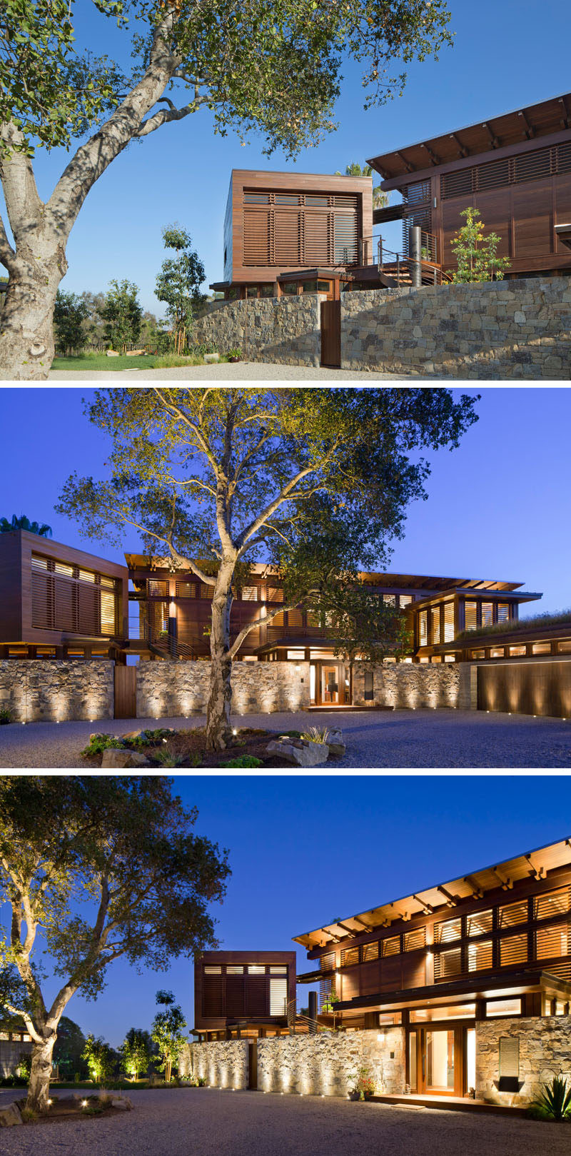 Upon arriving at this modern house, you are greeted by a circular driveway with a central highlighted tree and a stone wall. #ModernHouse #Uplighting #LandscapeDesign