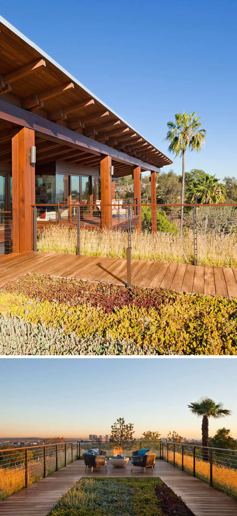 This modern house has a green roof where there's a small deck set up with lounge chairs and a firebowl, that overlooks the neighborhood. #GreenRoof #RooftopDeck #FireBowl