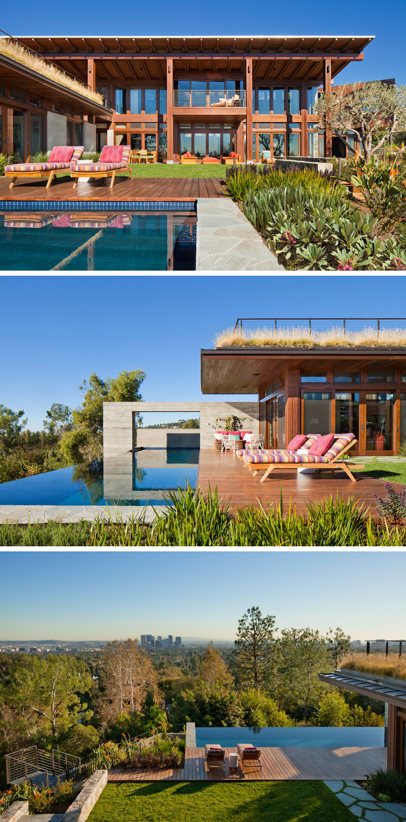 This modern house has wood framed doors that open the main living area to the backyard, where there's a lawn, a wood deck and a swimming pool, all with views of Los Angeles and the Pacific Ocean beyond. #Backyard #Architecture #SwimmingPool
