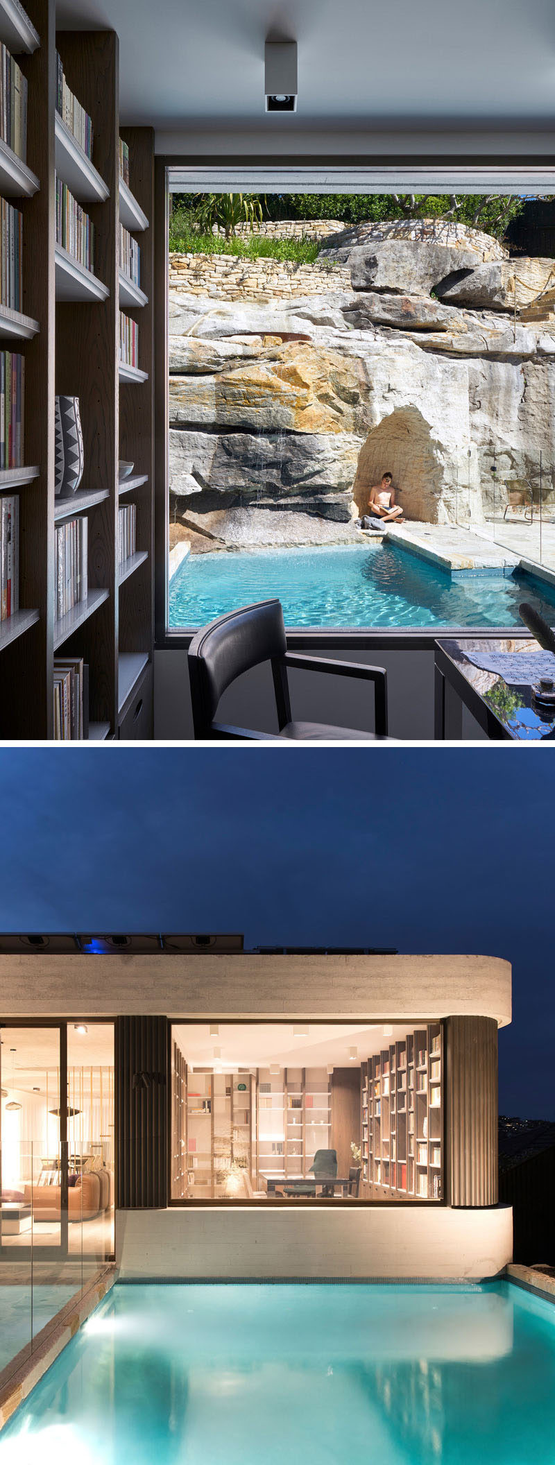 This study has a view of the ancient rock shelves and ledges that emerged in this steep escarpment, as well as the pool. At night, there's a clear view of the study from the outdoor areas. #Study #SwimingPool