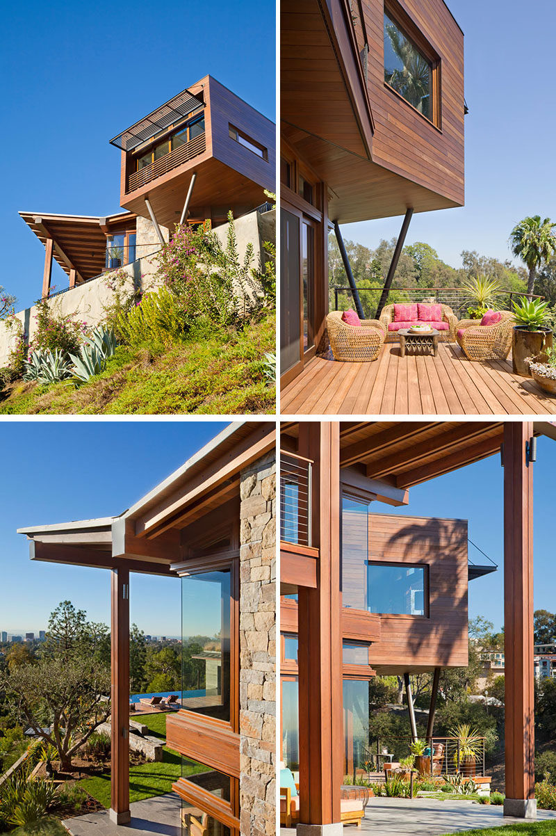 This modern house uses supports to hold up overhangs and expansive roof lines. #Architecture #ModernHouse