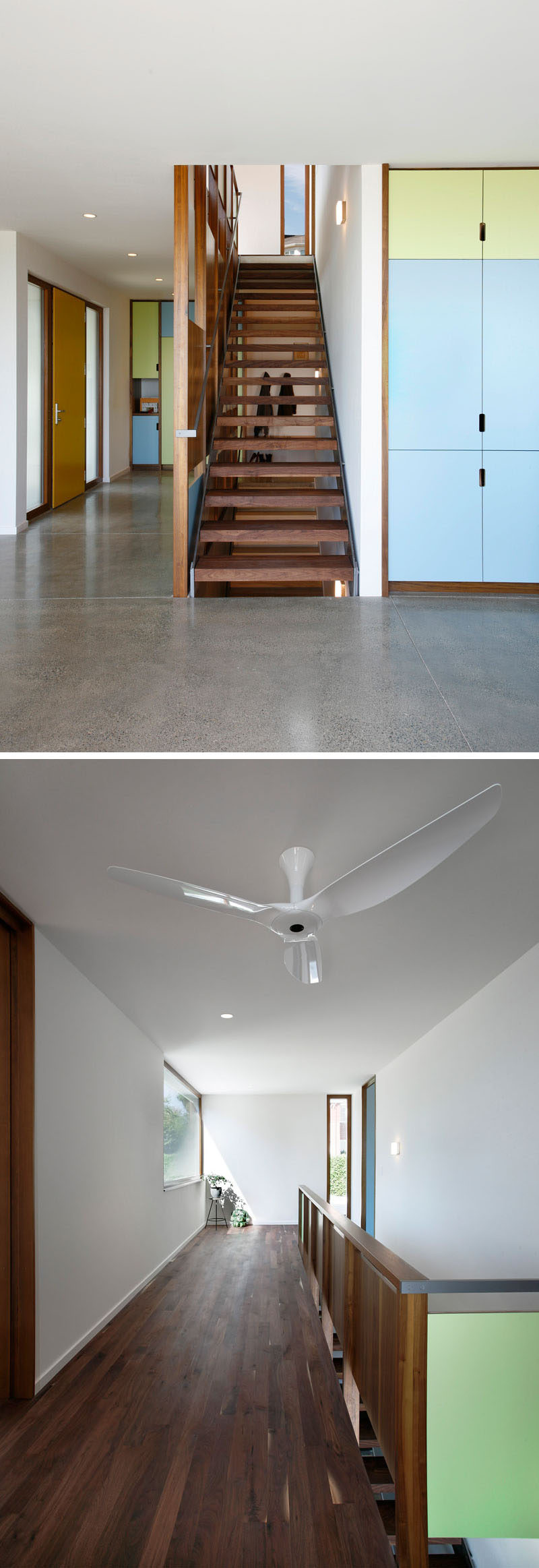 In this modern house, a walnut staircase that leads to the various levels of the house, while walnut has also been used for the flooring in the upper level of the home. #WalnutStaircase #WalnutFlooring #Stairs