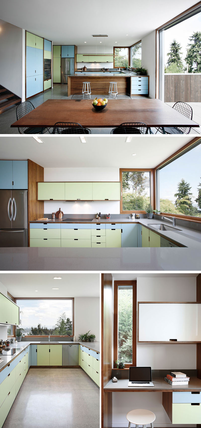 Color has been added to the interior of this modern house, like in the kitchen, where the designers used pastel blue and green cabinet fronts that compliment the wood cabinetry and window frames. #ColorfulKitchen #KitchenDesign