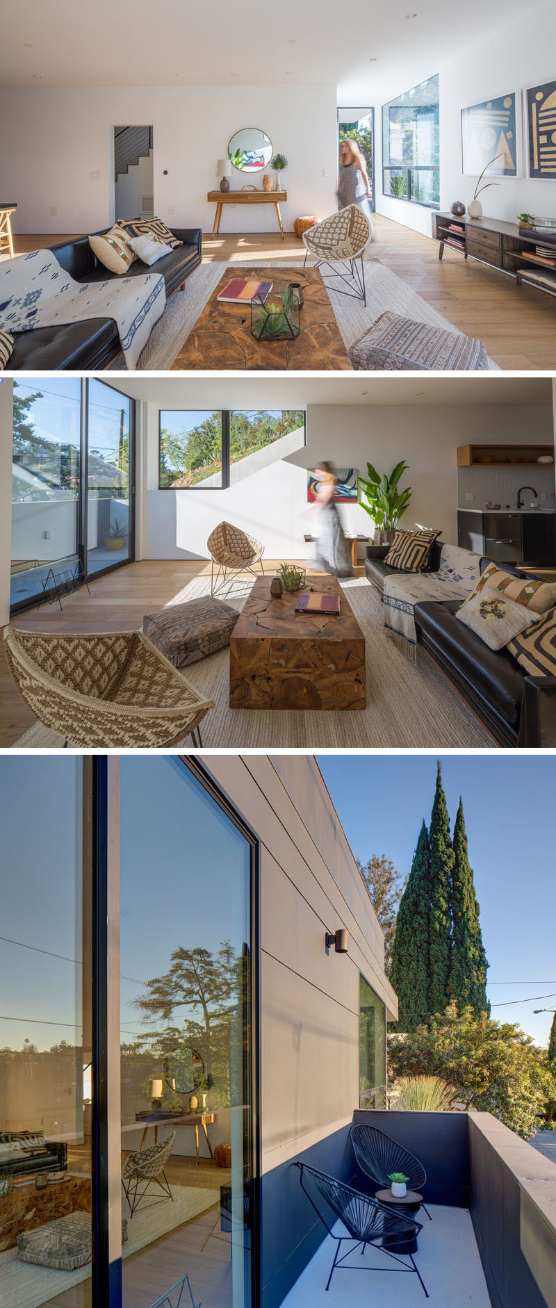 Inside this modern house, the living room, dining room and kitchen share the same open space, while located off the living room is another small deck with space to sit outside. #LivingRoom #InteriorDesign