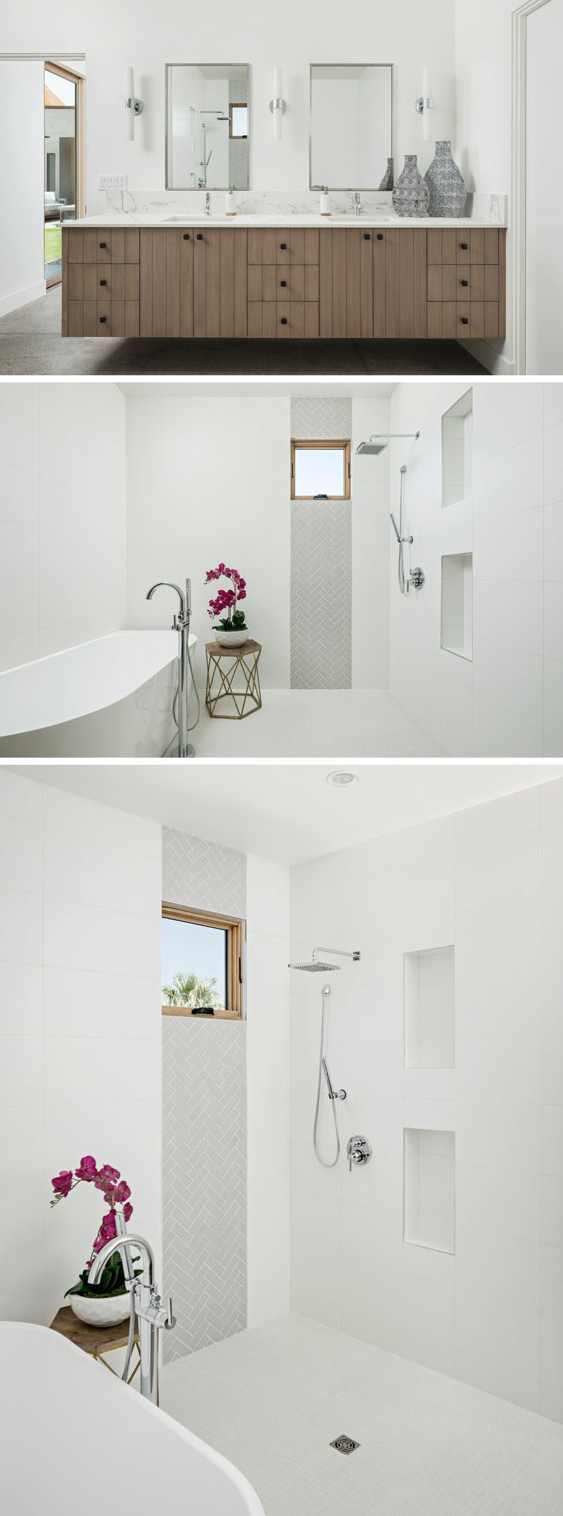 This modern master bathroom contains an open shower with built-in shelving, a freestanding tub and the wood vanity cabinetry echoes the vaulted ceiling of the great room. #MasterBathroom #ModernBathroom #BathroomDesign