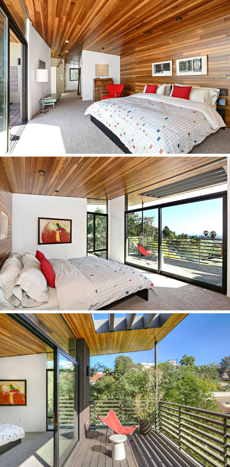 This renovated house has a large, tree-top master suite that features wood that wraps around from the wall and onto the ceiling. The bedroom opens up to its own private deck with ocean views. #MasterSuite #BedroomDesign #WoodCeiling