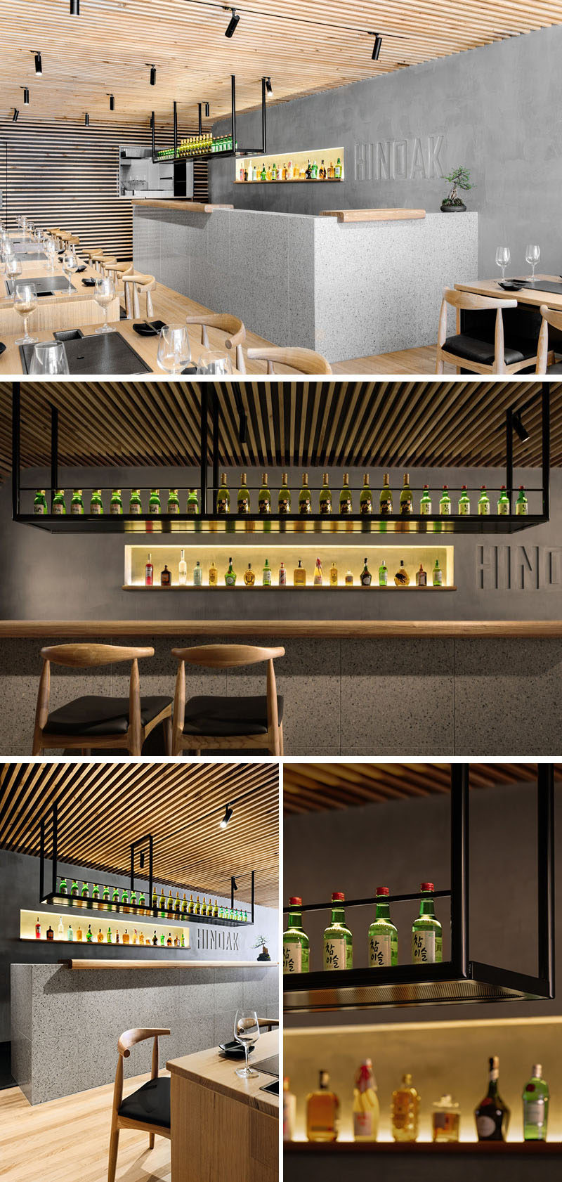 The bar at the rear of this modern Korean BBQ restaurant is encased in terrazzo tiles and topped with sculpted timber benchtops that sit atop the bar in sections. Above the bar, suspended black display shelving descends from the ceiling, and behind the bar, there's a backlit niche cut into the wall that displays fine spirits. #BarDesign #InteriorDesign #RestaurantDesign