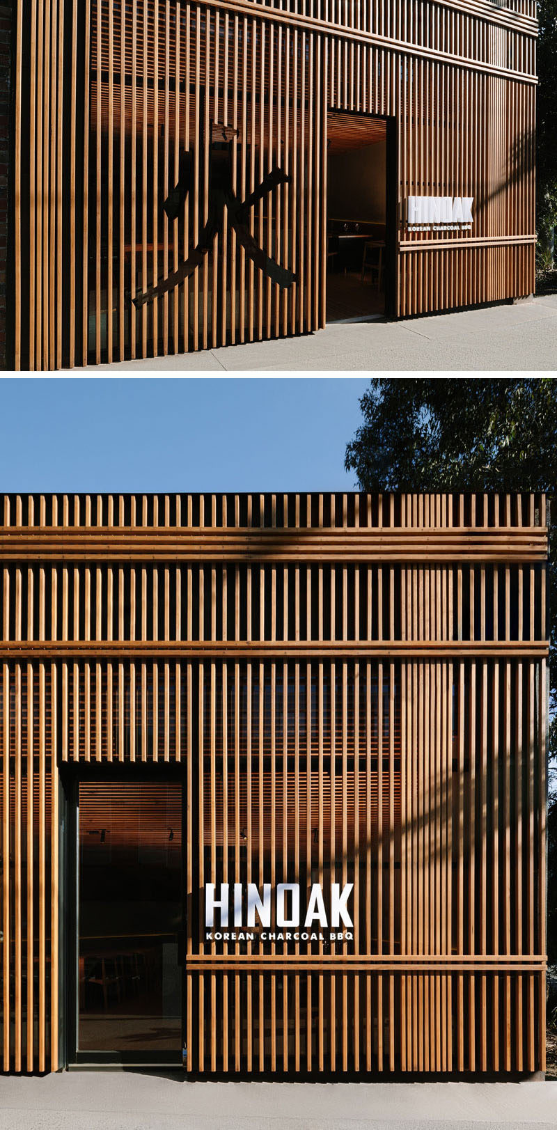 Inspired by traditional Chinese iconography and the work of Japanese architect Kengo Kuma, the facade of this modern Korean BBQ restaurant has a slatted wood exterior with a character cut-out and bright white signage. #WoodFacade #RestaurantDesign