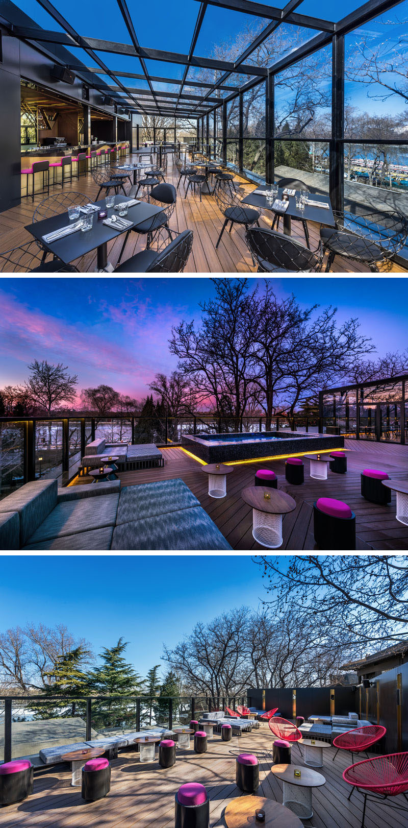 This modern hotel has a Rooftop Moon Bar, that features a treetop alfresco experience, with full views to the picturesque Houhai lake and park, plus there's also a Jacuzzi for relaxing and having a drink. #ModernHotel #Beijing #HotelBar #RooftopBar